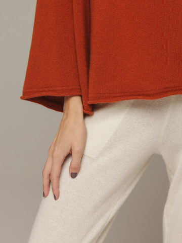 Женский оранжевый джемпер свободного кроя из 100% кашемира - фото 2