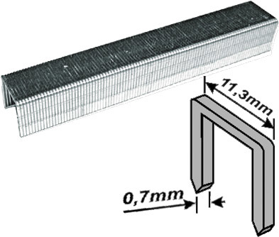 Скобы для степлера закалённые прямоугольные 11,3 мм х 0,7 мм  (узкие тип 53)  8 мм, 1000 шт. FIT 31308