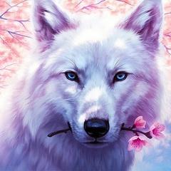 Волк-романтик- алмазная картина