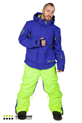 Сноубордический комбинезон мужской Cool Zone 3в1 синий-салат