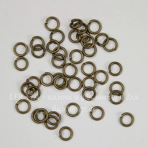Комплект колечек одинарных 4х0,7 мм (цвет - античная бронза), 10 гр (примерно 280 шт)