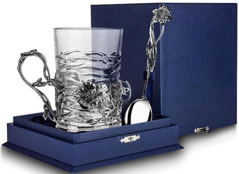 Cеребряный набор для чая «Настурция»