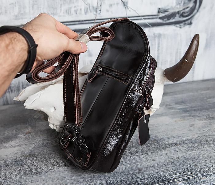 BAG420-2 Крутая мужская сумка из кожи с одной лямкой фото 07