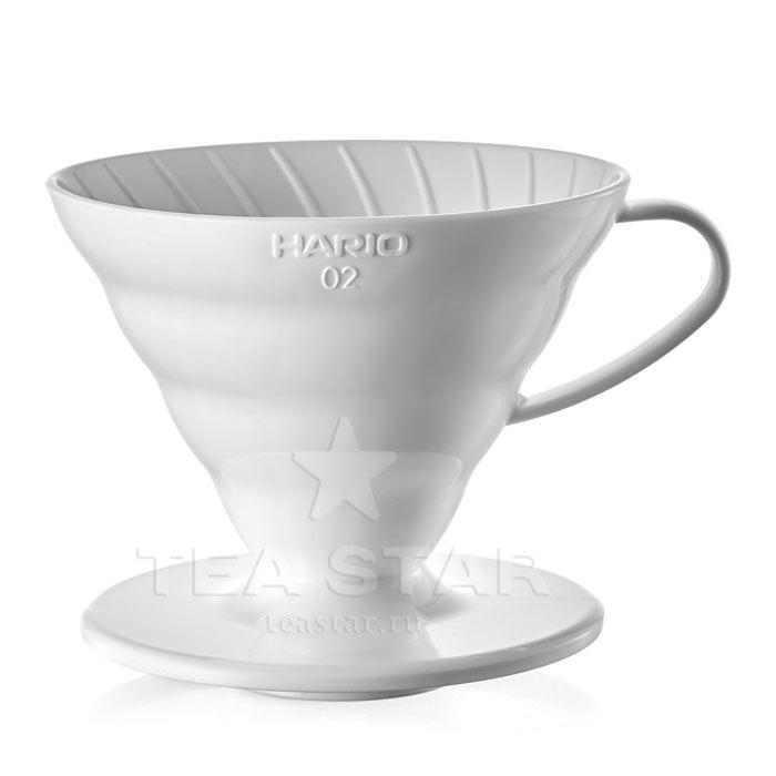 Кофейные аксессуары Воронка Hario 60, VD-02W, пластиковая для приготовления кофе, белая Hario_V60-VD-02w-1.jpg