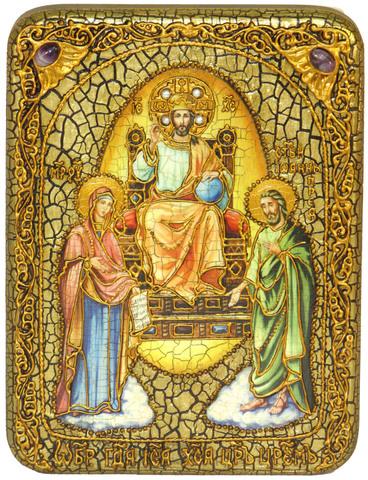 Инкрустированная икона Царь Царей 20х15см на натуральном дереве, в подарочной коробке