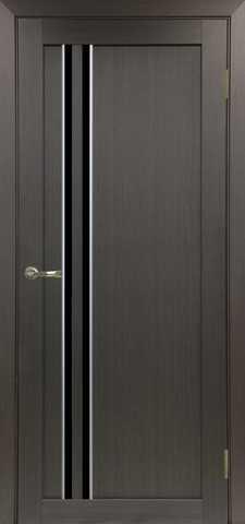 > Экошпон Optima Porte Турин 525.121АПС молдинг SC, стекло лакобель чёрное, цвет венге, остекленная