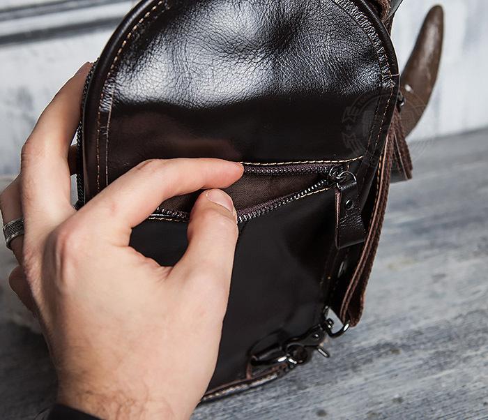 BAG420-2 Крутая мужская сумка из кожи с одной лямкой фото 08