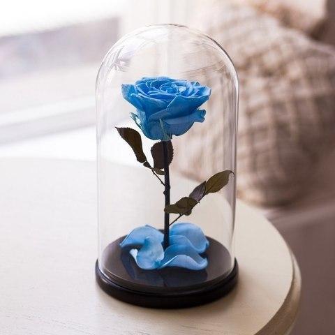 Роза в колбе Premium Голубая
