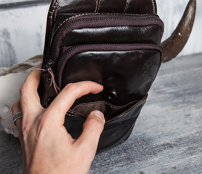 BAG420-2 Крутая мужская сумка из кожи с одной лямкой фото 09