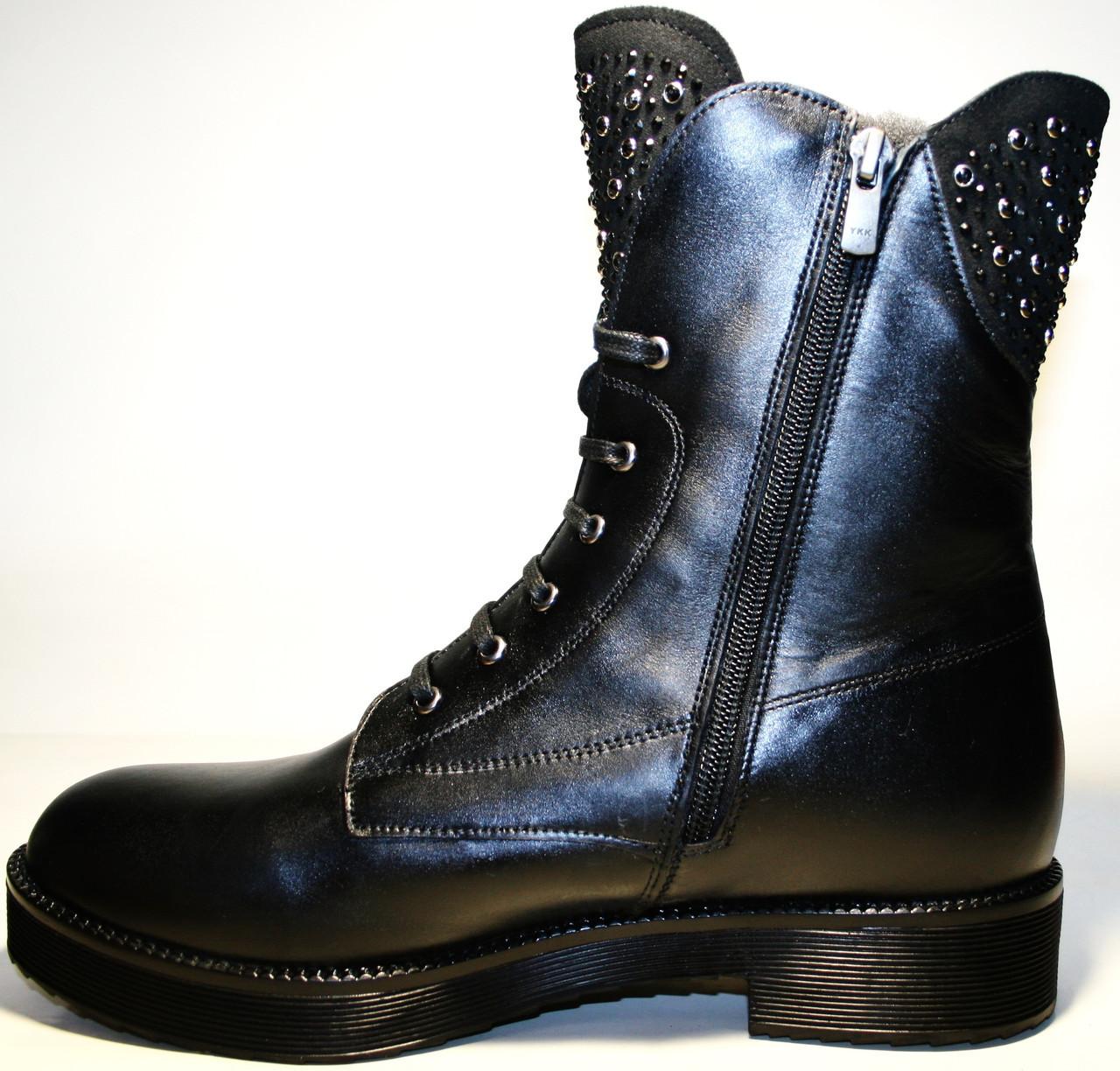 2b59c662ecf1 Купить ботинки женские кожаные зимние с мехом, на низком каблуке ...