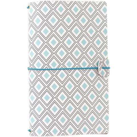 Блокнот -Freckled Fawn Sleek Traveler's Notebook БЕЗ наполнения - Mint Diamond Geometric
