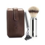 Дорожный бритвенный набор MUEHLE, чехол из натуральной коричневой кожи, дорожный помазок, дорожная бритва Mach3 (RT 2 M3)