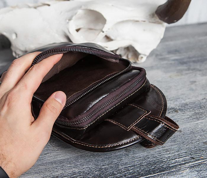 BAG420-2 Крутая мужская сумка из кожи с одной лямкой фото 10