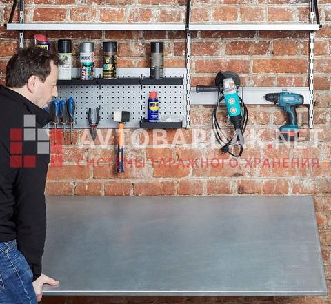 Комплект из складного верстака для гаража, полок и креплений для хранения инструментов