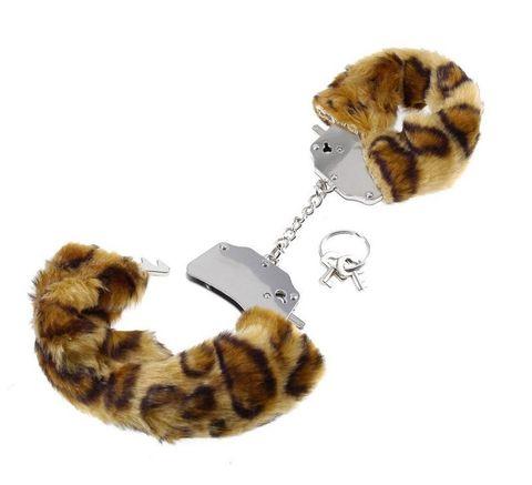 Металлические наручники с мехом Фантазия леопард