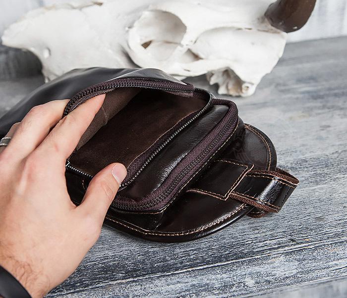 BAG420-2 Крутая мужская сумка из кожи с одной лямкой фото 11
