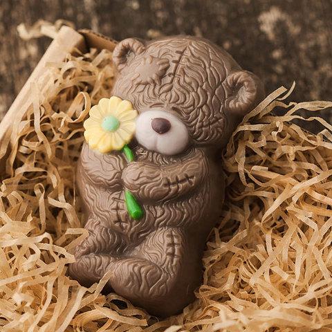 Пластиковая форма для мыла Мишка Тедди с ромашкой