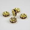 Бусина - рондель 10х4 мм с красными фианитами (цвет - золото), 5 штук