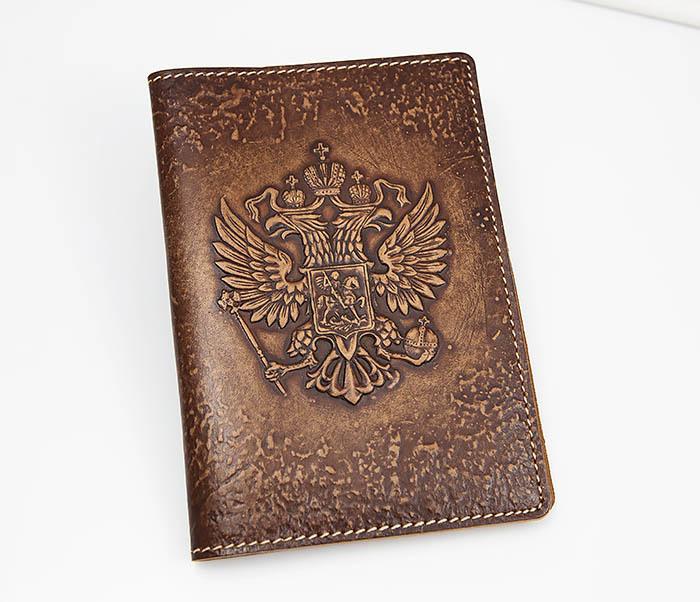 Обложка для паспорта Герб России, объемное тиснение обложка для паспорта нат кожа черная тиснение герб тип 3 спейс