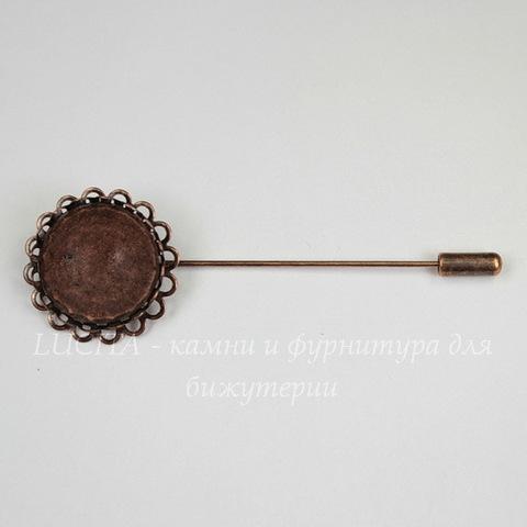 """Основа для броши """"Иголочка"""" с сеттингом для кабошона 20 мм, 78х26 мм (цвет - античная медь)"""