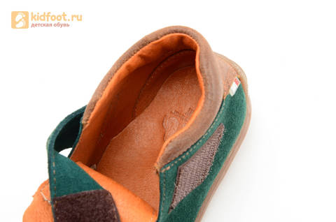 Ботинки для мальчиков кожаные Лель (LEL) на липучке, цвет зеленый. Изображение 13 из 14.