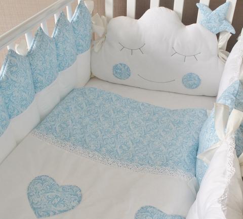 Комплект в кроватку Сказочные сны, голубой, на 4 стороны кроватки