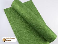 Фоамиран с блестками зеленый 2мм