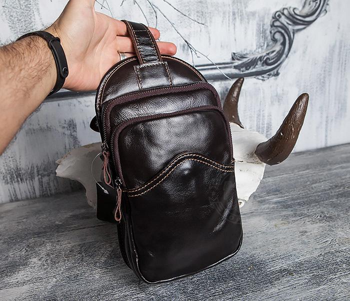 BAG420-2 Крутая мужская сумка из кожи с одной лямкой фото 15