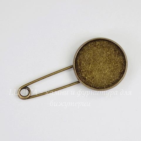 Основа для броши - булавка с сеттингом для кабошона 20 мм (цвет - античная бронза) 46х22 мм
