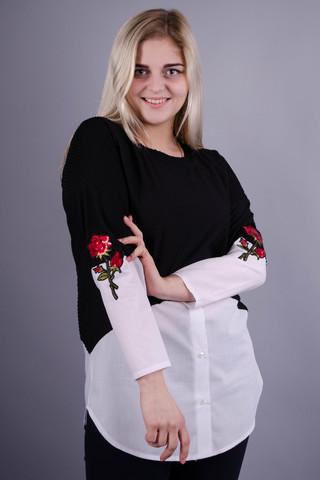 Аника цветок. Красивая кофточка больших размеров для женщин. Белый.
