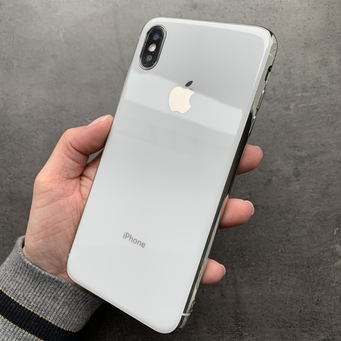 Чехол iPhone XS MAX Glass Silicone Case Logo /white/