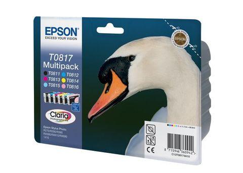 Комплект картриджей 6 цветов C13T08174A10 для Epson Stylus Photo 1410, R270, R290, R295, R390, RX590, RX610, RX615, RX690, T50, T59, TX650, TX659, TX700W, TX710W, TX800FW (комплект, 6x11 мл.) MultiPack (C13T11174A10)