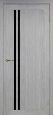 > Экошпон Optima Porte Турин 525.121АПС молдинг SC, стекло лакобель чёрное, цвет дуб серый, остекленная