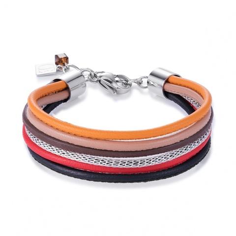 Браслет Coeur de Lion 0120/30-0302 цвет мультиколор, оранжевый, коричневый, красный, чёрный