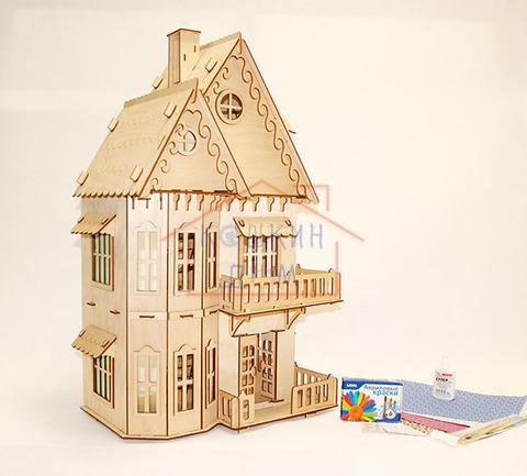 Кукольный домик, 3-этажный с набором для раскрашивания и обоями