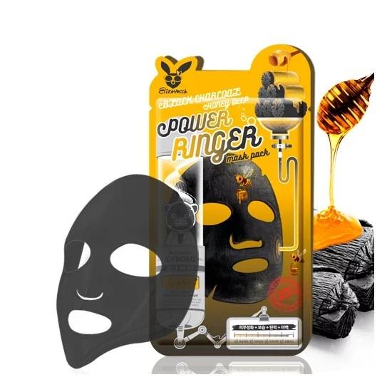 Тканевая маска для лица с древесным углем и медом ELIZAVECCA Black Charcoal Honey Deep Power Ringer