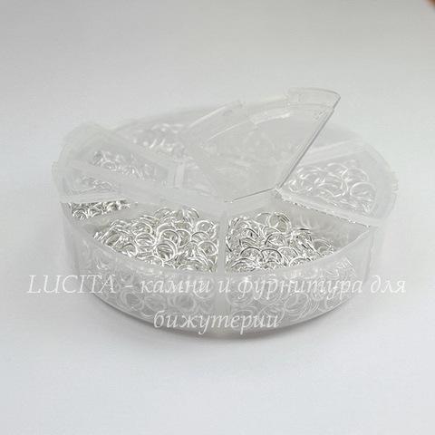 Набор колечек одинарных (примерно 1500 шт) в контейнере (цвет - серебро) 4-10х0,7-1 мм