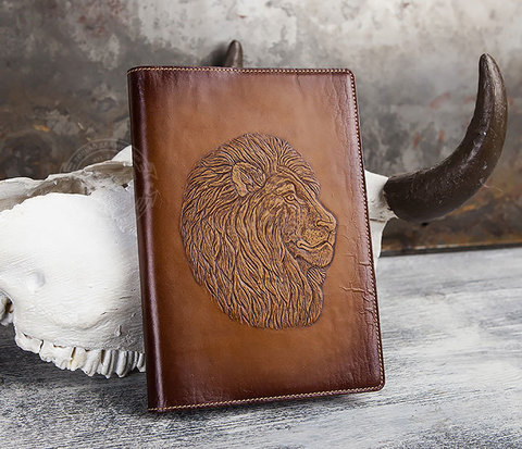 Ежедневник в обложке из натуральной кожи «Лев» (А5)