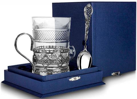 Cеребряный набор для чая «Ажур» с чернением