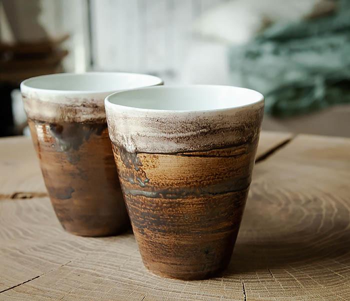CUP106-2 Стакан из керамики в глазури коричневого цвета фото 02