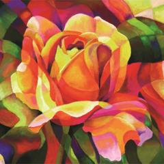Красная роза- алмазная картина