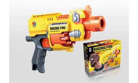 Игрушка пистолет помповый с мягкими пулями на батарейках
