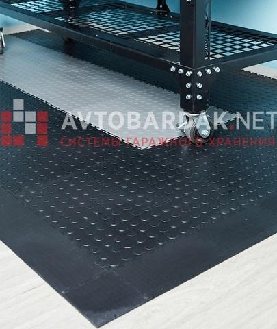 ПВХ покрытие 2650 х 1650 мм в гараж (в угол, пандус с 2 сторон). Набор из черных и серых плиток