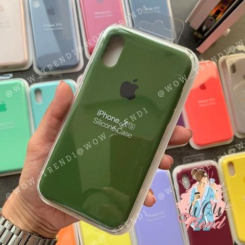 Чехол iPhone X/XS Silicone Case Full /olive/ оливка