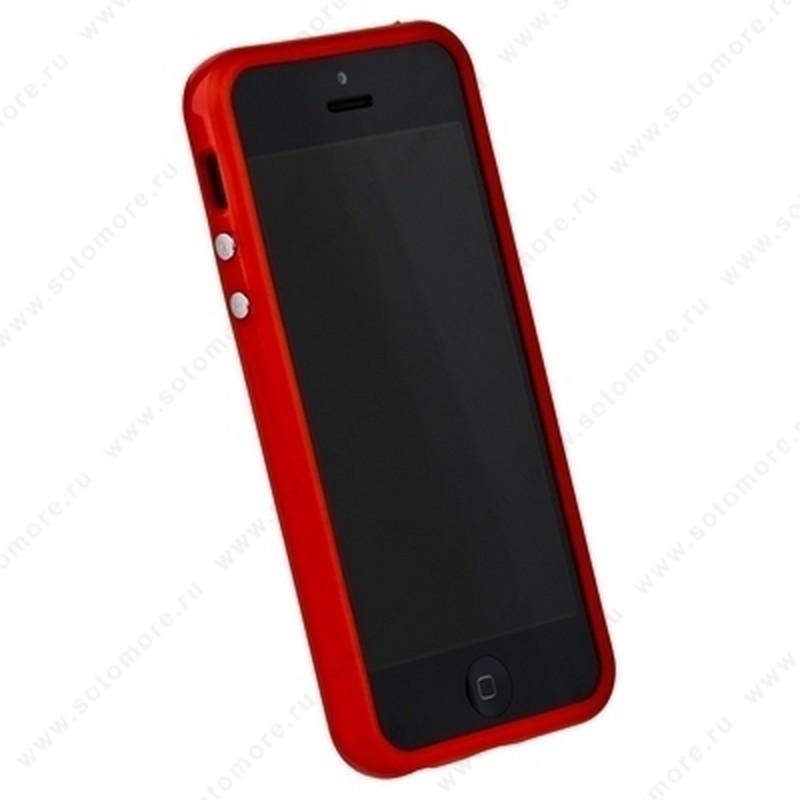 Бампер для iPhone SE/ 5s/ 5C/ 5 красный с красной полосой