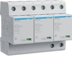 Комбинированный разрядник защиты от перенапряжения, 3пол., 6M, класс 1+2 или B, 75kA TNC, с индикацией, сменными картриджами, доп. переключающим контактом