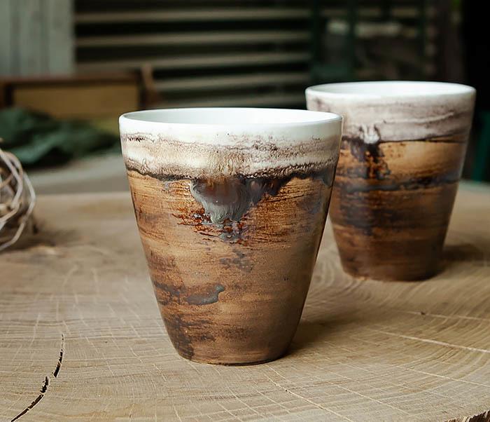 CUP106-2 Стакан из керамики в глазури коричневого цвета фото 06