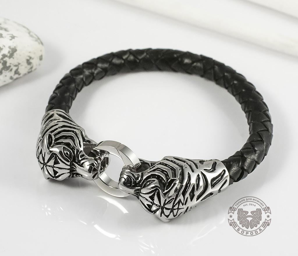 Необычный мужской браслет «Тигры» из стали и кожаного плетеного шнура (19 см)