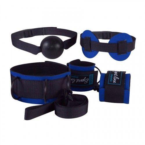 Эротические наборы: Сине-черный комплект для БДСМ-игр: наручники, кляп-шарик, маска, ошейник