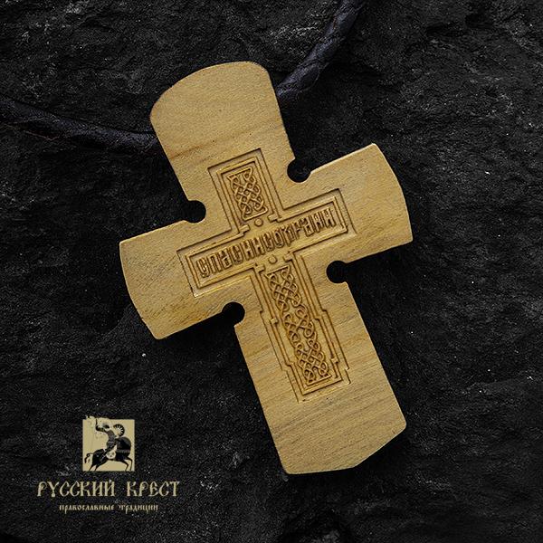 Крест нательный деревянный. Господь Вседержитель на троне. Вид сзади.